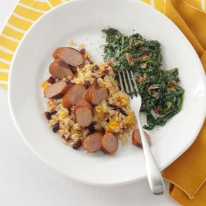 Grilled Chicken Sausages with Harvest Rice Recipe