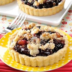 Blushing Fruit Tarts with Amaretto Truffle Sauce Recipe