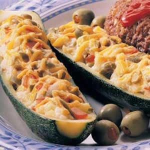 Olive-Cheese Zucchini Boats Recipe