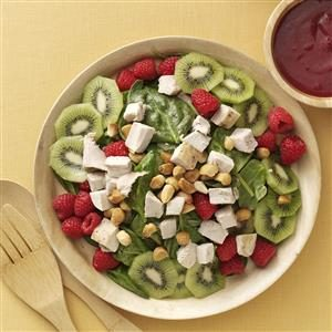 Turkey Spinach Salad with Cranberry-Raspberry Dressing Recipe