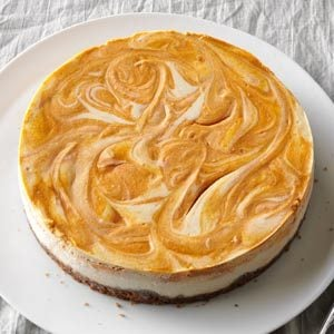 Spiced Pumpkin-Swirl Cheesecake Recipe photo by Taste of Home