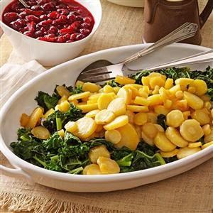 Maple-Glazed Parsnips on Kale Recipe