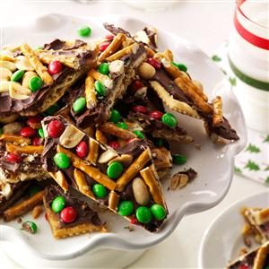 Chocolate, Peanut & Pretzel Toffee Crisps Recipe