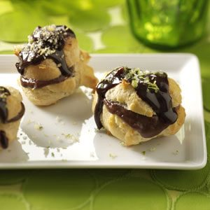 Chocolate-Filled Cream Puffs with Hot Fudge Sauce Recipe