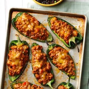 Chili-Stuffed Poblano Peppers