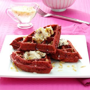 Red Velvet Waffles with Coconut Syrup Recipe