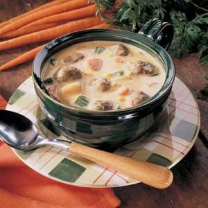 Cheesy Meatball Soup Recipe