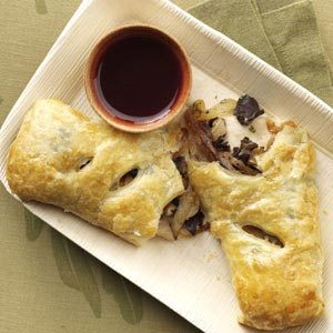 Turkey Puffs with Cranberry Cabernet Sauce