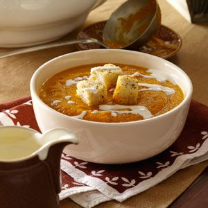 Pumpkin Soup with Sourdough Sage Croutons Recipe