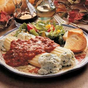 Beef Stuffed Manicotti with Basil Tomato Sauce Recipe
