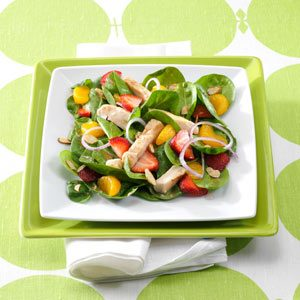 Chicken & Fruit Spinach Salads