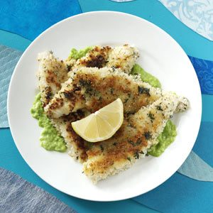 Herb-Crusted Perch Fillets with Pea Puree Recipe