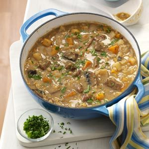 Beef Barley Soup with Roasted Vegetables Recipe