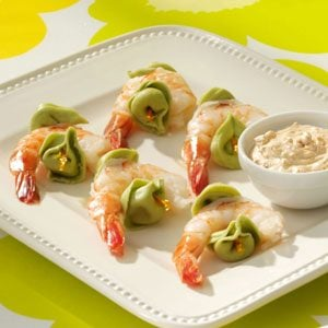 Tortellini & Shrimp Skewers with Sun-Dried Tomato Sauce Recipe
