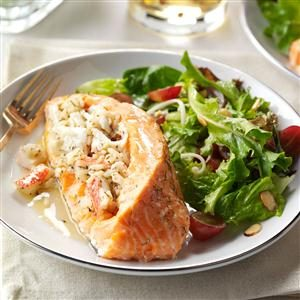 Seafood-Stuffed Salmon Fillets Recipe