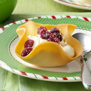 Tangerine Tuiles with Candied Cranberries Recipe