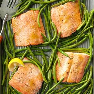 Sweet & Tangy Salmon with Green Beans Recipe