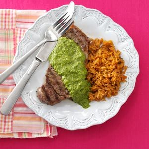 Steakhouse Strip Steaks with Chimichurri Recipe