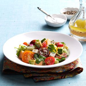 Summertime Tomato-Melon Salad Recipe