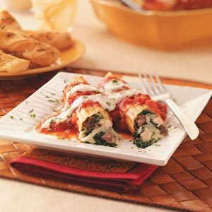 Meaty Spinach Manicotti Recipe