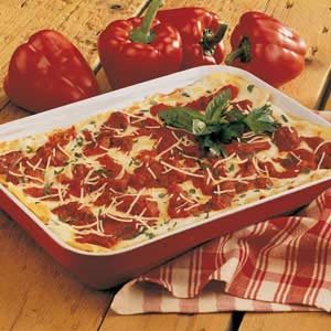 Roasted Red Pepper Lasagna Recipe photo by Taste of Home