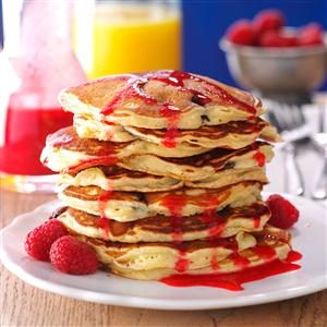 Chocolate Chunk Pancakes with Raspberry Sauce Recipe