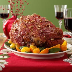 Maple-Pecan Glazed Ham