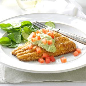 Cornmeal Catfish with Avocado Sauce Recipe