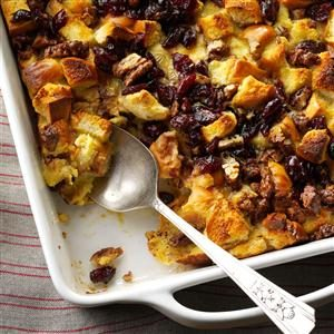 Eggnog Bread Pudding with Cranberries Recipe