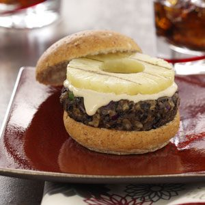 Grilled Black Bean and Pineapple Burgers