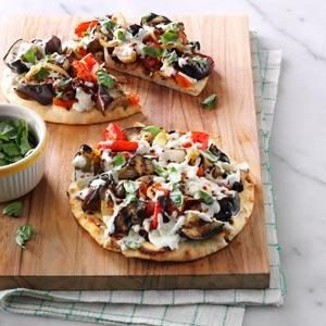 Grilled Eggplant Pita Pizzas Recipe