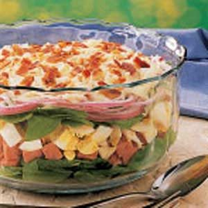 Layered Ham and Spinach Salad Recipe