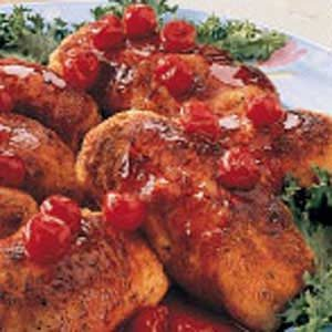 Chicken Roll-Ups with Cherry Sauce Recipe