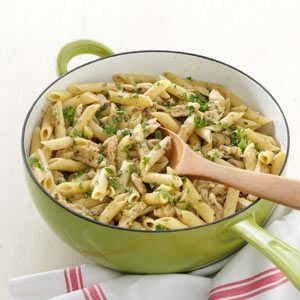 Delish Pesto Pasta with Chicken Marsala Recipe