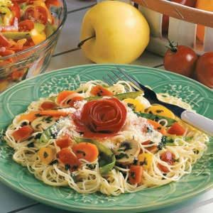 Angel Hair Pasta with Garden Vegetables Recipe
