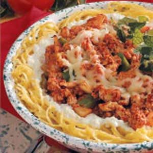 Turkey Spaghetti Pie Recipe