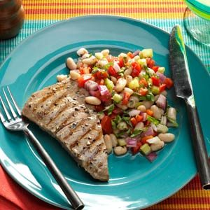 Tuna with Tuscan White Bean Salad Recipe