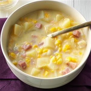 Smoky Cheddar, Ham and Corn Chowder Recipe