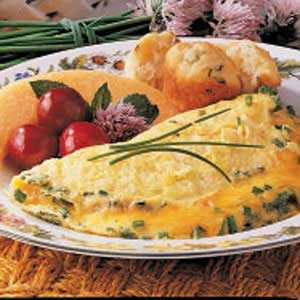 Cheesy Chive Omelet Recipe photo by Taste of Home