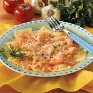 Ravioli with Shrimp Tomato Sauce Recipe