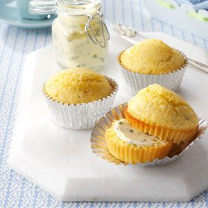 Mushroom Corn Muffins with Chive Butter Recipe