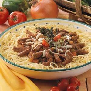 Steak Strips with Spaghetti Recipe
