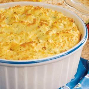 Three-Cheese Potato Souffle Recipe