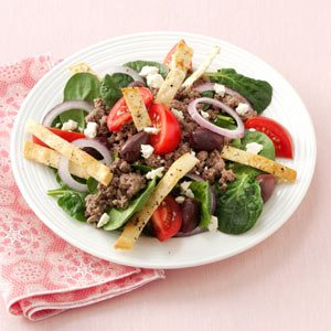Hearty Pita Spinach Salad