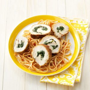 Spinach Stuffed Chicken with Linguine