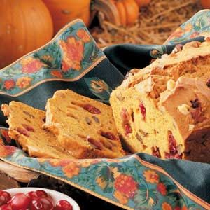 Pumpkin Cranberry Nut Bread Recipe