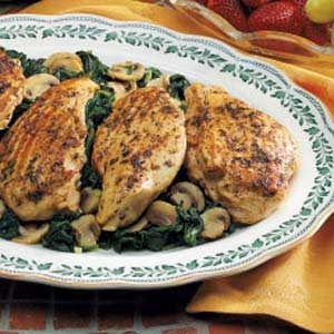 Grilled Chicken Over Spinach Recipe