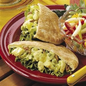 Curried Chicken Pitas