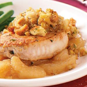 Pork Chops with Apples and Stuffing Recipe
