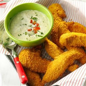 Tuscan Chicken Tenders with Pesto Sauce Recipe photo by Taste of Home